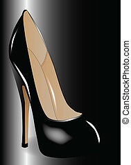 Black Shoe - A tall black stiletto heal shoe