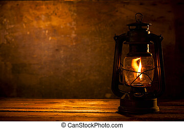 Oil Lamp on Wood
