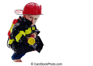Little fire fighter toddler - Little boy fire fighter points...
