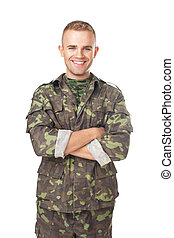 Smiling army soldier with his arms crossed isolated on white...