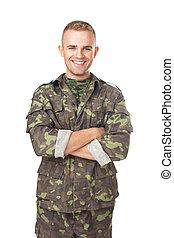 sonriente, ejército, soldado, el suyo, brazos,...