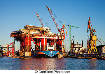 Oil Platform - Oil Rig under construction in the shipyard of...
