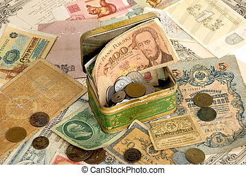 Background with old currency and old coins