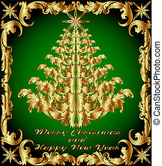 background with the Golden ornamental Christmas tree
