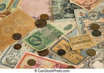 Retro background with old currency and coins