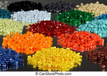 several dyed polymer resins - several polymer batches for...