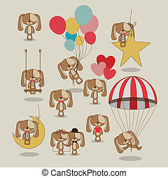 puppies design over background vector illustration