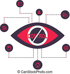 Total Control and Spy surveillance Vector Illustration Icons...