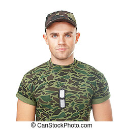 young army soldier with military ID tags - Portrait of young...