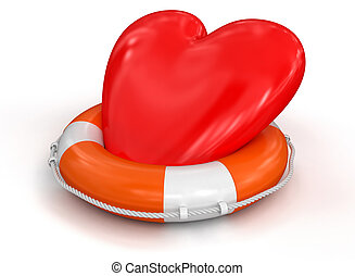 Heart and Lifebuoy. Image with clipping path