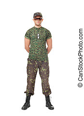 Army soldier standing in attention - Full length portrait of...