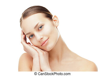 Beautiful young woman with healthy clean skin - Close-up...