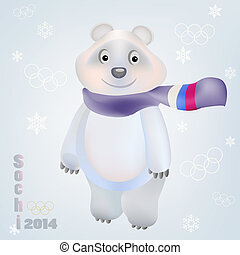 Smiling Polar Bear character with scarf russian flag and...