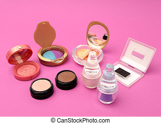 Cosmetics - Set of cosmetics on a pink background