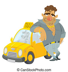 Cartoon Taxi driver funny character with his yellow cab -...