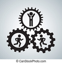 human resources over gray background vector illustration