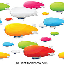 Retro dirigible seamless pattern. Vector illustration