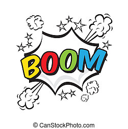 boom pop art explosion over white background vector...