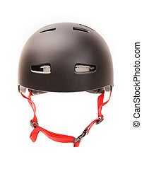 bicycle helmet - Black bicycle helmet on white background