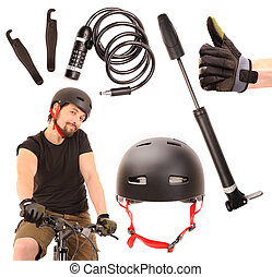Bicycle tools set on white background