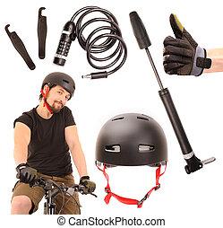 bicicleta, herramientas, Conjunto