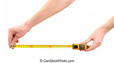 Tape measure in hands - Tape measure in man hands