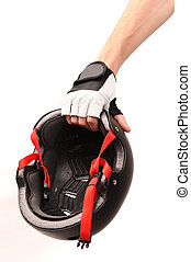 Hand with bicycle helmet - Hand holding bicycle helmet on...