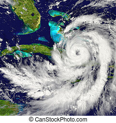 Hurricane over Cuba - Huge hurricane approaching Florida in...