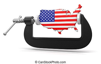 USA in clamp  - USA in clamp. Image with clipping path
