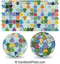 Spherical puzzles - Vector image of 3D spherical puzzles in...