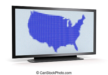 TV with US map