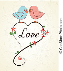 love birds over pink background vector illustration