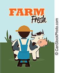 farm fresh label over filed  background vector illustration