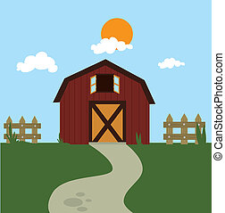 farm fresh label over landscape background vector...