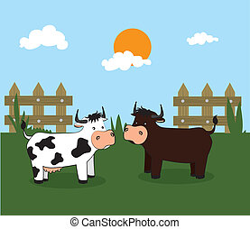 agriculture label over landscape background vector...