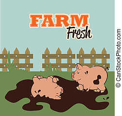 farm fresh label over field  background vector illustration