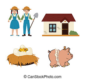 agriculture icons over white background vector illustration