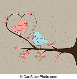 love birds over beige background vector illustration