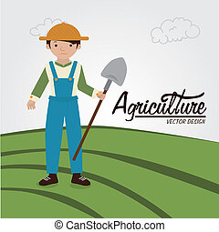 agriculture label over field background vector illustration