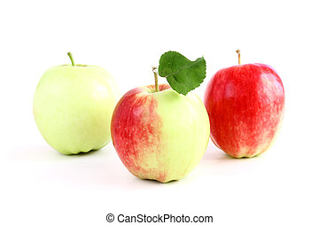 three apple isolated - three big apple with one green leaf...