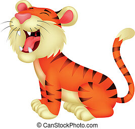 Tiger cartoon roaring - Vector illustration of Tiger cartoon...
