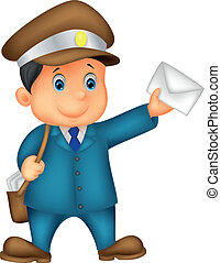 Cartoon Mail carrier with bag and l - Vector illustration of...