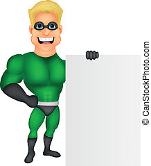 Superhero cartoon with blank sign - Vector illustration of...