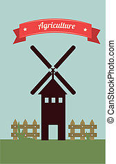agriculture label over field background vector illustration...