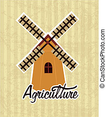 agriculture label over lineal background vector illustration...