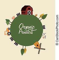 organic product label over pink background vector...