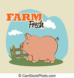 farm fresh label over background vector illustration