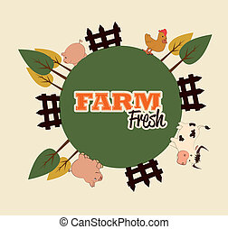 farm fresh label over pink background vector illustration