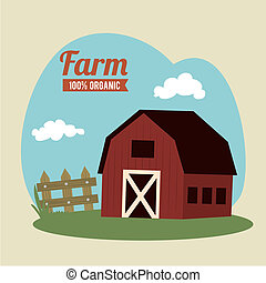farm fresh label over beige background vector illustration