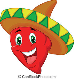 Cartoon Habanero pepper - Vector illustration of Cartoon...